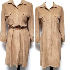 Vintage 90s Faux Suede Button Up Tunic Dress NY&C